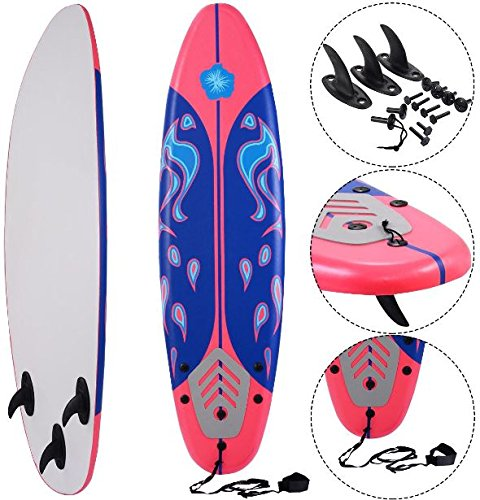K&A Company Beach Foamie Body Surfboard Surfing Ocean Surf Boarding Board New 6' Red 200 lbs Capacity by K&A Company