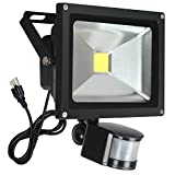 FAISHILAN Motion Sensor Flood Light 20W LED IP65 Waterproof Security Lights 6000K, 1600 Lumen, US 3-Plug Outdoor Wall Light