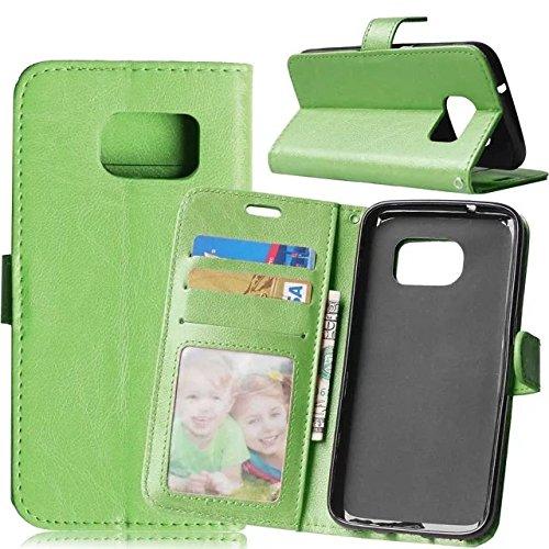 SRY-Funda móvil Samsung Funda de cuero de la PU Samsung Galaxy S7 Premium, cubierta sólida de la cubierta del silicón de la caja de la carpeta del tirón para Samsung S7 ( Color : White , Size : Samsun Green