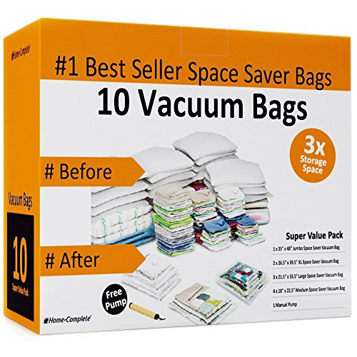 10 Space Saver Bags for Reusable Long Term Vacuum Storage