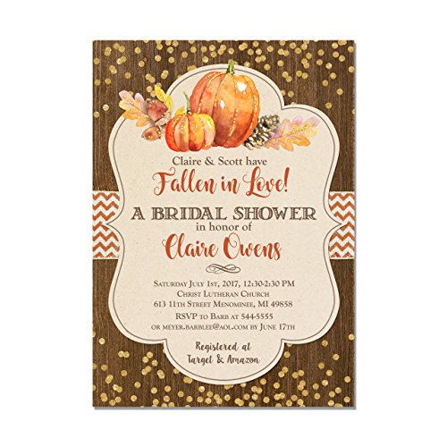 Fall Bridal Shower Invitation, Pumpkin Fall in Love Rustic Autumn Bridal Shower, Set of 10 5x7 invitations with white envelopes