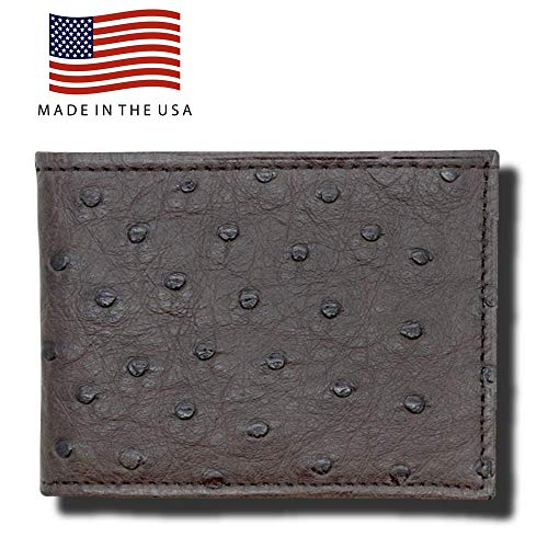 Brown Genuine Ostrich Leather RFID Wallets for Men – American Factory Direct – Christmas Gifts for Men - Gift Box – Made in the USA by Real Leather Creations FBA996