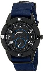 Geneva Men's 1672F-GEN Black-Tone Watch with Blue Nylon Band