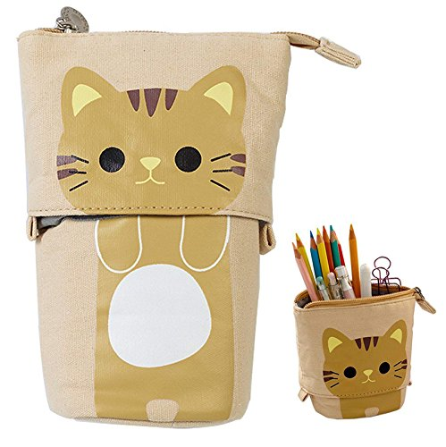 Transformer Stand Store Pencil Holder Canvas+PU Cartoon Cute Cat Telescopic Pencil Pouch Bag Stationery Pen Case Box with Zipper Closure 7.5 x 4.9 x 3.0inch/4.1x 3.0inch (Khaki) by Vivin