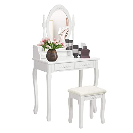 Giantex Vanity Set Dressing Table with Stool, Wood Makeup Bedroom Vanities  Oval Mirror Cushioned Bench Removable Top Desk Cosmetics Organizers Easy ...