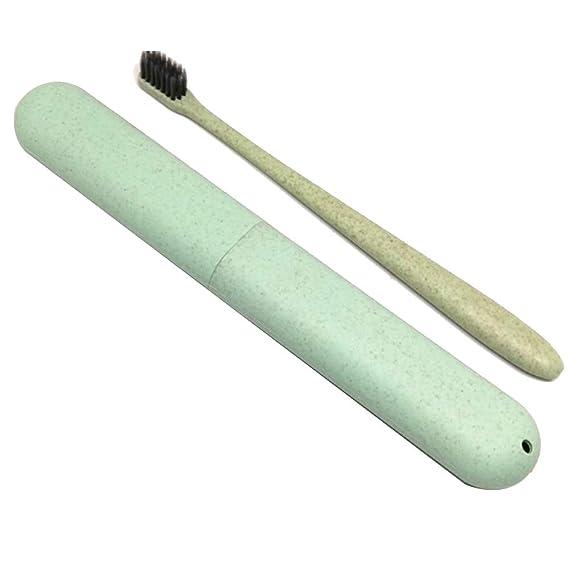 TrifyCore Cepillo de Dientes Verde portátil Cepillo de Dientes de Limpieza Profunda de Paja de Trigo