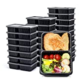 Glotoch [40 Pack] 32oz two Compartment Meal Prep Containers with Lids -upgrade design Food Storage Containers Bento Box Lunch Box Made of BPA Free Plastic, Stackable, Reusable, Microwavable, Freezer