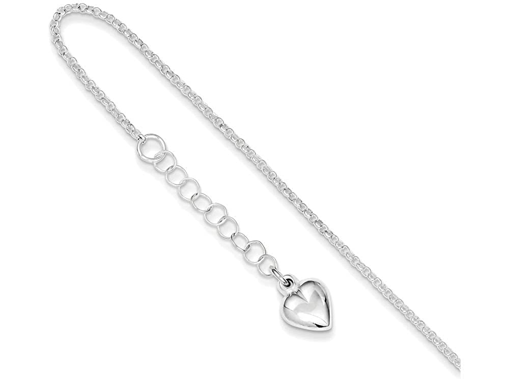 Anklet Finejewelers Sterling Silver Polished Heart W// 1in Ext