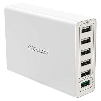 dodocool 58 W 6 Puerto cargador USB, 1 Puerto Quick Charge 3.0 Cargador y 5 Puertos USB 2.0, con 4,92 ft cable de alimentación Para iPhone, ...
