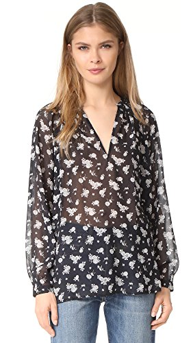 Vince Women's Calico Floral Pleat Neck Blouse, Coastal, Large