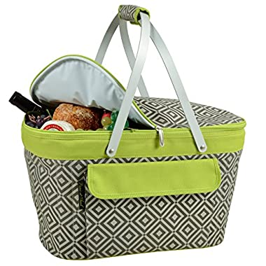 Picnic at Ascot Large Family Size Insulated Folding Collapsible Picnic Basket Cooler with Sewn in Frame- Grey/Green
