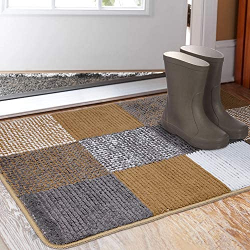 Indoor Doormat 23 x 35 , Absorbent Front Back Door Mat Floor Mats, Rubber Backing Non Slip Door Mats Inside Mud Dirt Trapper Entrance Front Door Rug Carpet, Machine Washable Low Profile-Brown Lattice