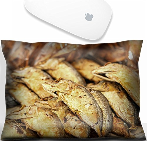 Luxlady Mouse Wrist Rest Office Decor Wrist Supporter Pillow Fried mackerel at market.IMAGE: - Fried Mackerel