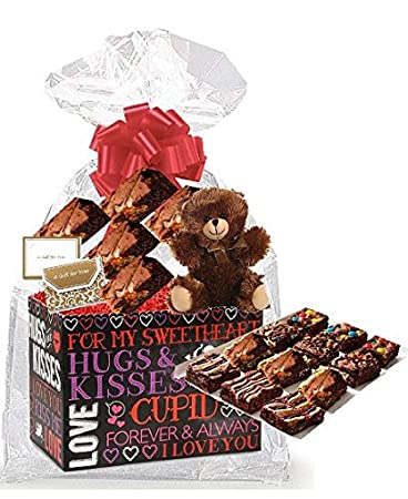 Valentines Day Hugs and Kisses Gourmet Food Gift Basket Chocolate Brownie Variety Gift Pack Box (