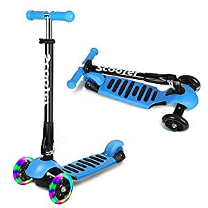 Scooter for Kids ,ICODE Premium 3 Wheel Kick Scooter for Toddlers (2-8 Year) with Adjustable Height ,Led Flashing Wheels (BLUE)
