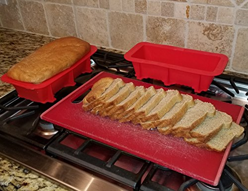 Silicone Bread and Loaf Pan Set of 2 Red, Nonstick, Commercial Grade Plus Homemade Bread Making Recipe Ebook by Silicone Designs (Image #3)