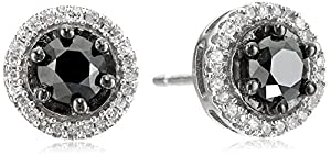 Sterling Silver Black and White Diamond Round Stud Earrings (1 cttw)