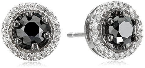 Sterling Silver Black and White Diamond Round Stud Earrings (1 - Diamond Post Classic Earring