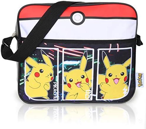 Bolsos Infantiles Negros Pokémon para Niños | Bolsa De Mensajero Deportiva con Pikachu | Mochila Pokemon con Correa Larga para Usar como Bandolera | ...
