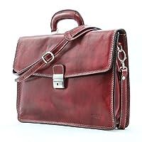 Luggage Depot USA, LLC Men's Alberto Bellucci Italian Leather Single Compartment Slim Briefcase, Red, One Size from Luggage Depot USA, LLC
