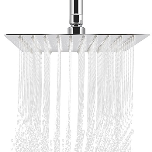 Rainfall Shower head, ieGeek Universal Luxury Large Bath Shower 304 Stainless Steel High Pressure Shower Head with Full Polish Chrome Finish and Anti-lime Nozzles Easy to Install Square - 12 Inch by ieGeek (Image #9)