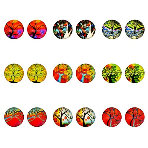 Magical Tree Themed, Glass Dome Magnetic Clip-on Earrings for Non-pierced ear Teen Teenage Little Girls Gift ()