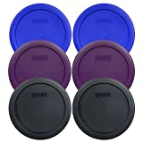 Pyrex 7201-PC Round 4 Cup Storage Container Lids for Glass Bowls (2-Light Blue, 2-Purple, 2-Black)