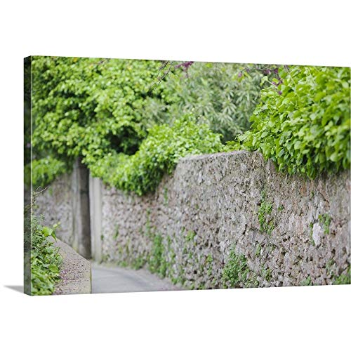 Green Stone Capris (GREATBIGCANVAS Gallery-Wrapped Canvas Entitled Street Along a Stone Wall, Capri, Naples, Campania, Italy by 18
