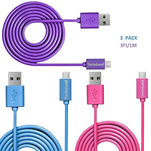 Micro USB Cables, Techoland Colorful [3 Pack] Premium 3ft Charging Cord and Data Sync Cable for Micro USB Connecting Devices (Pink/Purple/Blue)