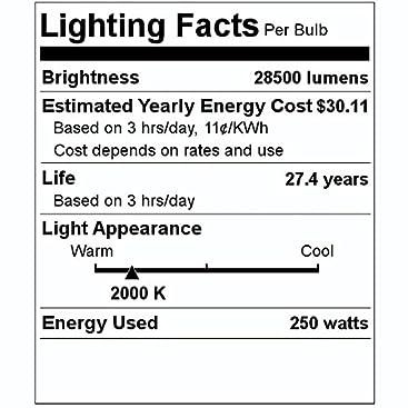 Philips 147421 C250S50//ALTO NC HPS High Pressure Sodium Light Bulb