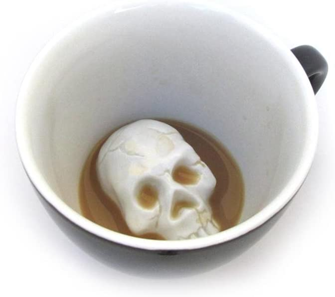 Creature Cups Skull Ceramic Cup (11 Ounce, Black) | Hidden Creepy Animal Inside | Halloween, Holiday and Birthday Gift for Coffee & Tea Lovers