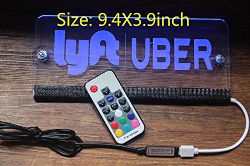 Lyft Uber sign rideshare sign LED light Acrylic engraving 5V USB remote 16 color (Lyft + Uber logo sign)