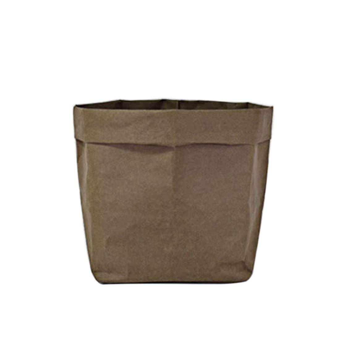 FREAHAP R WashableKraft Paper Bag Reusable Storage Bins Plants Organizer Cover Storage Basket for Food/Fruit