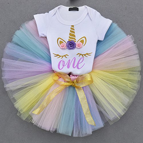 53f148cc2dda7 Unicorn Flower Outfit Baby Girls Romper + Ruffle Tulle Skirt + Horn Headband  First 1st Birthday Party Dress up Costume 3Pcs Cake Smash Set Clothes  Purple ...