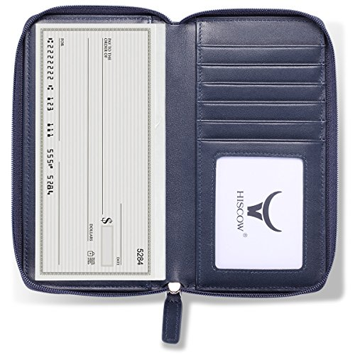 - HISCOW Zippered Checkbook Cover & Card Holder with Divider - Italian Calfskin (Dark Blue)