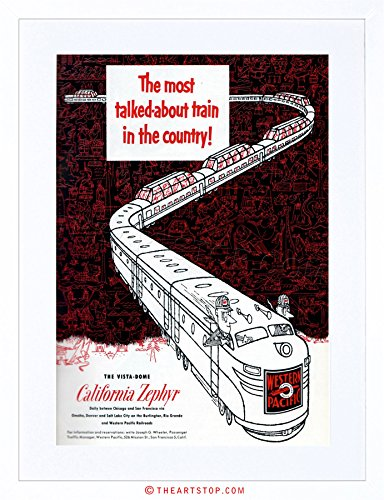 The Art Stop AD California Zephyr 1950 Train Western Pacific Framed Print F12X2129 ()