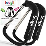 X-Large Stroller Hook Set for Mommy By Toogli. Two Great Organizer Baby Accessories for Hanging Diaper & Shopping Bags & Purses. Clip Fits All Single/Twin Travel Systems, Baby Joggers and Wheelchairs.