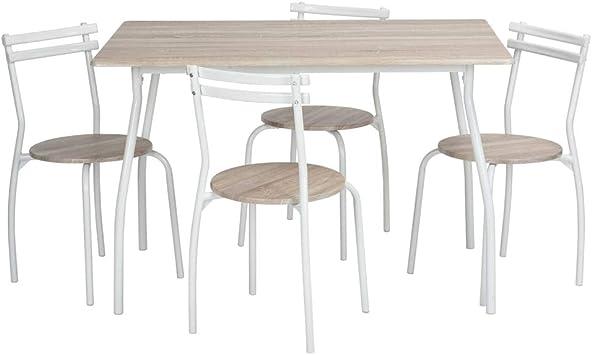 Homy Casa - Juego de mesa de comedor de 5 piezas, 4 sillas, muebles de cocina, marco de metal (madera de haya): Amazon.es: Juguetes y juegos