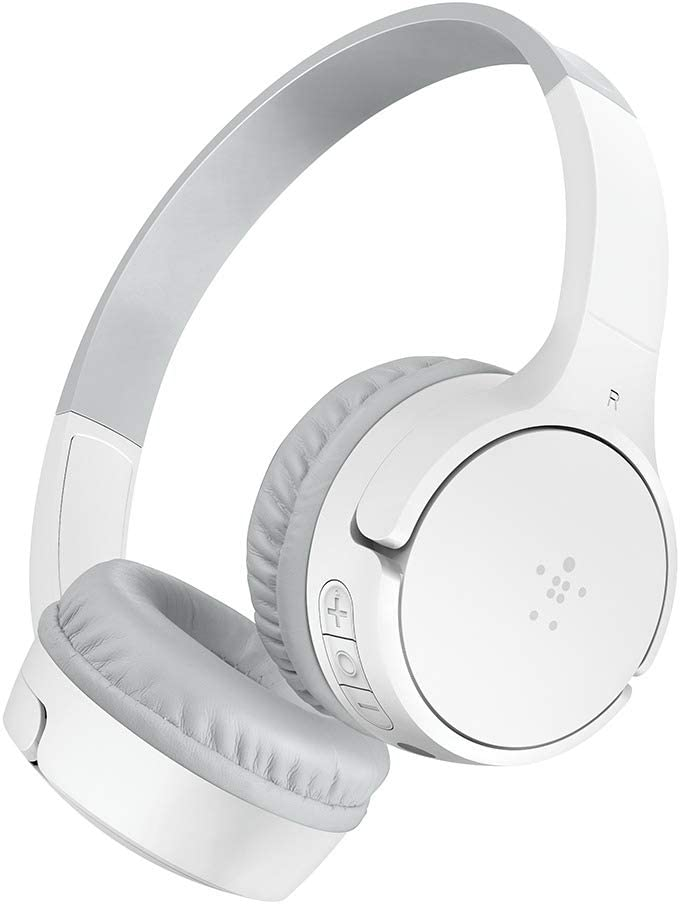 Belkin SoundForm Mini Kids Wireless Headphones with Built in Microphone, On Ear Headsets Girls and Boys for Online Learning, School, Travel Compatible with iPhones, iPads, Galaxy and More - White