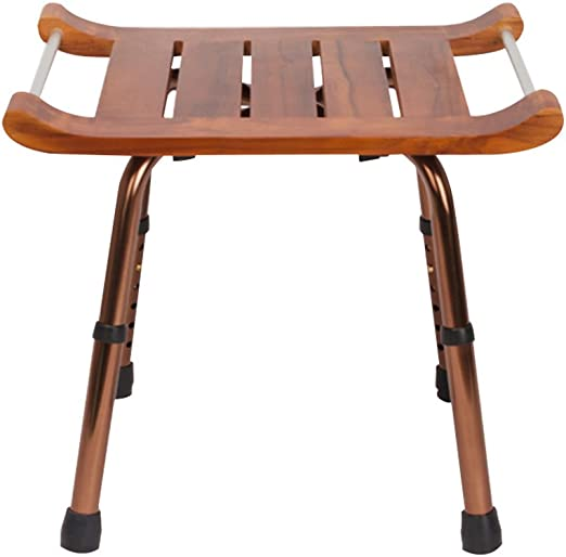FFF8 - Silla de Ducha, Color marrón, Aluminio, Madera Maciza, para dormitorios, Salas de Estar, jardín, Taburete de Ducha: Amazon.es: Hogar