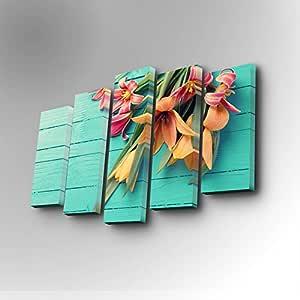 طقم لوحات قماشية من 5 قطع للديكور موديل 5PUC-065 – الوان مختلطة