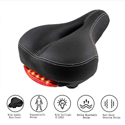Comfortable Bike Seat Cushion with Taillight for Men Women - SOKLIT Wide...