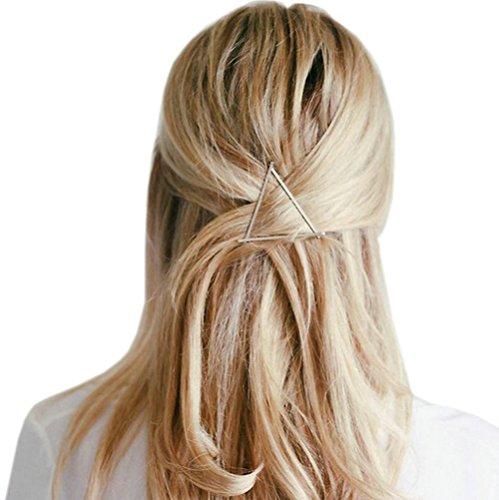 Joyci 2pcs Hollow Triangle Lip Hair Pin Bobby Pin Headwear Hair Clip Women's Barettes (Triangle 2p)