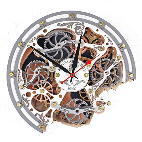 Automaton Bite 1682 White HANDCRAFTED moving gears wall clock by WOODANDROOT transparent steampunk wall clock, unique, personalized gifts, anniversary gift, large wall clock, home decor ()