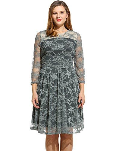 Meaneor Women's Plus Size Lace Dresses Cocktail Wedding Dress