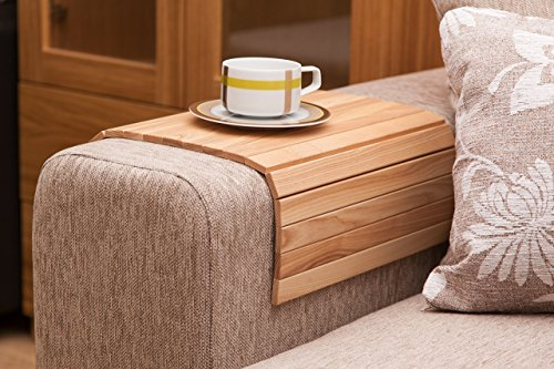 Natural Ash Sofa Side Tray Table - Wood Armrest Tray - Sofa Tray Table - Surface For Coffee/Meals/Laptop - 22.5