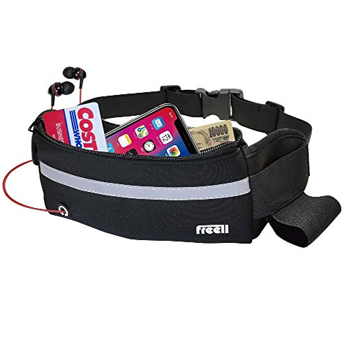 Freell 방수 경량 허리 가방 파우치 달리기 산책과 사이클링 여행 등산 여행 검정 / Freell Waterproof Lightweight Waist Bag Pouch Running Walking Cycling Touring Climbing Trip Black