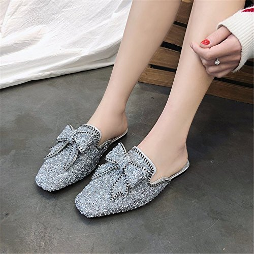 Sexy Cute Heeled Mid Mules Tie Bow Shoes Satin Heel Silver Sandals Summer Women's BeautyOriginal Slippers SpwXRR