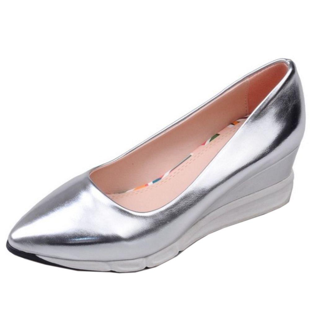 COOLCEPT Zapatos Mujer Moda Light Weight Going Easy Casual Mid Tacon de Cuna Sin Cordones Bombas Zapatos (38 EU , Gold)