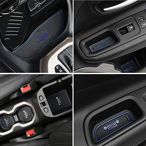 TOPPOWER Anti-dust Non-Slip Interior Door/Cup Mat Fit Jeep Renegade 2015-2016 16pcs (Dark Blue)